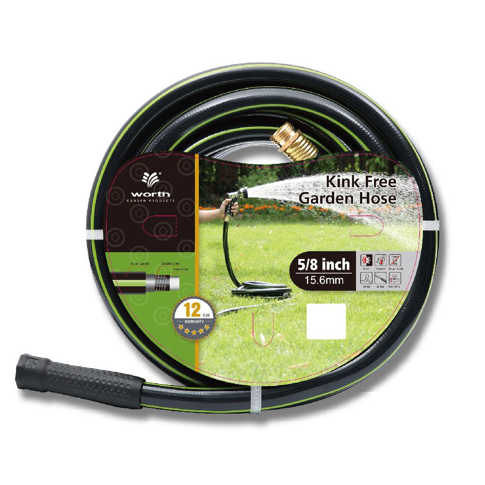 Worth Garden Kink Free 5/8 in. Dia x 75 ft. Heavy-Duty Garden Hose This kink free 5/8 in. Dia x 75 ft. hose weights 12.7 lbs. It is made from high quality lead free vinyl. The hose comes in black with a green stripe. It is a strong and useful add on to your gardening collections.