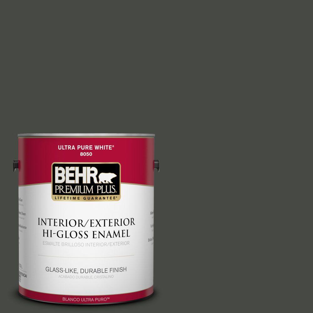 BEHR Premium Plus 1-gal. #710F-7 Black Swan Hi-Gloss Enamel Interior/Exterior Paint
