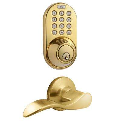 Polished Brass Keyless Entry Deadbolt and Lever Handle Door Lock with Electronic Digital Keypad