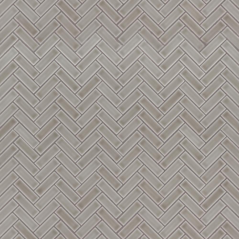 MSI Dove Gray Herringbone 11.3 in. x 12.56 in. x 8mm Glossy Ceramic Mesh-Mounted Mosaic Tile (9.86 sq. ft. / case)