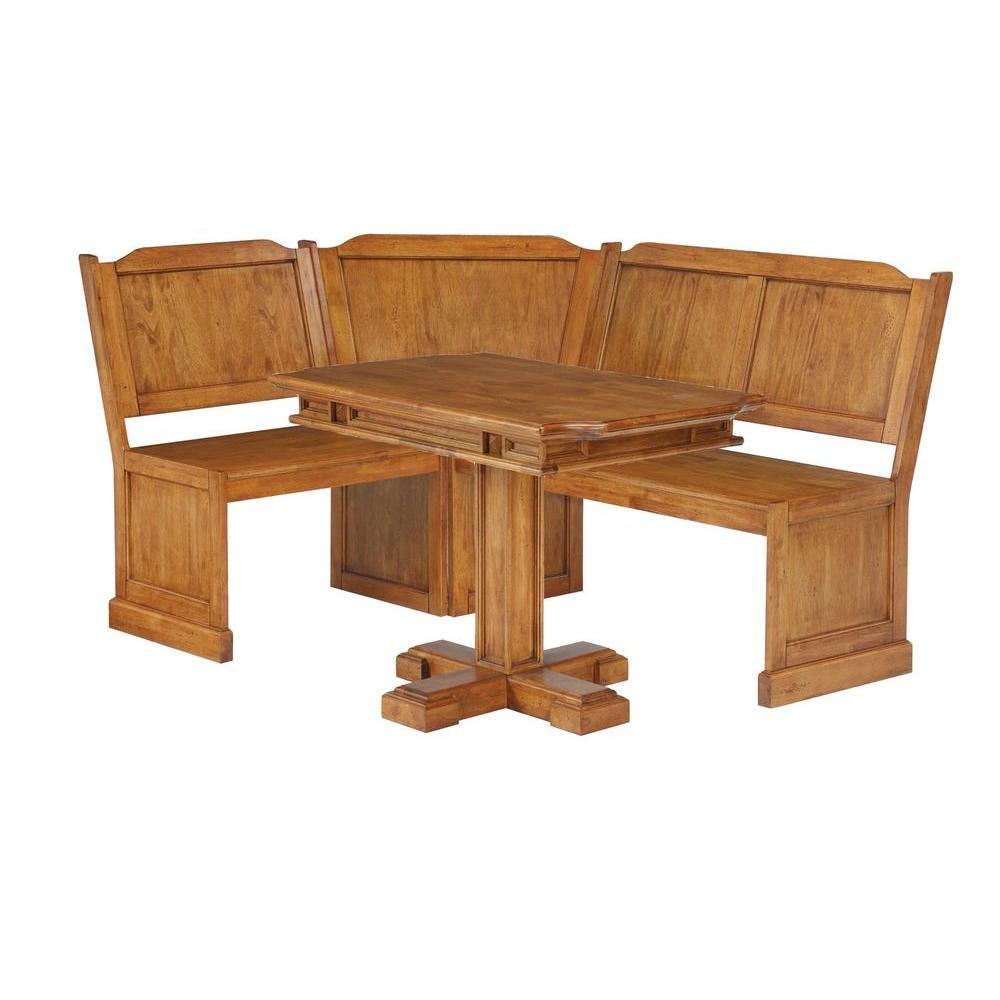 Home Styles Distressed Oak Corner Bench and Pedestal Dining Table-DISCONTINUED