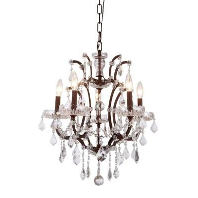 Elena 5-Light Rustic Intent Royal Cut Crystal Clear Pendant