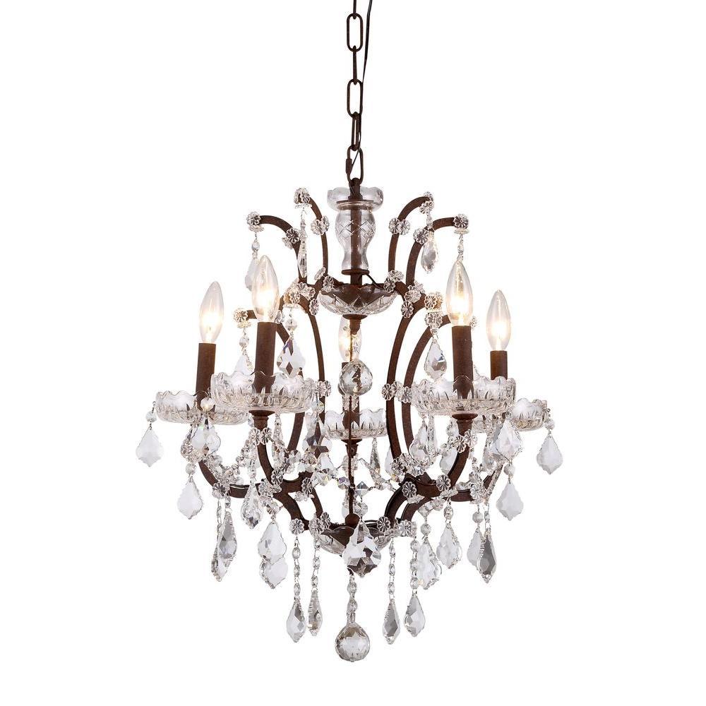 Elena 5-Light Rustic Intent Royal Cut Crystal Clear Pendant