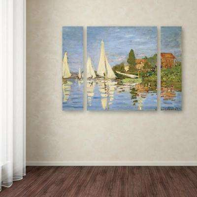 "30 in. x 41 in. ""Regatta at Argenteuil"" by Claude Monet Printed Canvas Wall Art"
