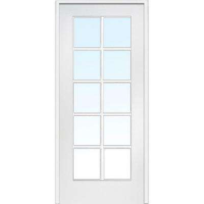 30 in. x 80 in. Right Handed Primed Composite Clear Glass 10 Lite True Divided Single Prehung Interior Door