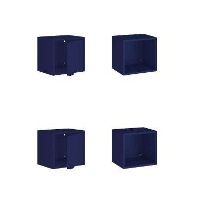 Smart 12.59 in. H x 13.77 in. W x 11.22 in. D Floating Cabinet and Display Shelf in Blue (Set of 4)