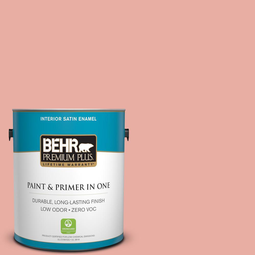 BEHR Premium Plus 1-gal. #180C-3 Rose Linen Zero VOC Satin Enamel Interior Paint