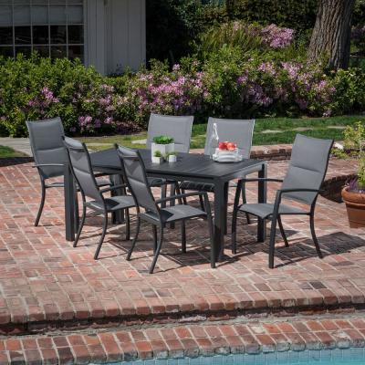 Naples 7-Piece Aluminum Outdoor Dining Set with 6 Padded Sling Chairs and a 63 in. x 35 in. Dining Table
