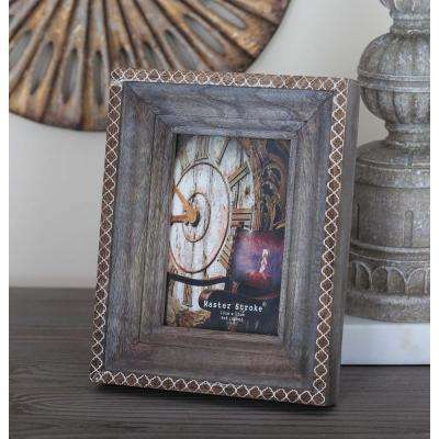 4 in. x 6 in. Rustic Brown and White Wood Picture Frame