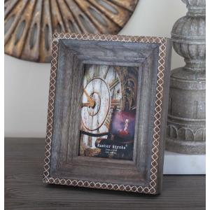 4 inch x 6 inch Rustic Brown and White Wood Picture Frame by