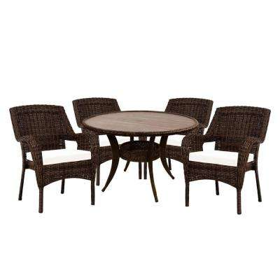 Cambridge Brown 5-Piece Wicker Outdoor Dining Set with Cushions Included, Choose Your Own Color