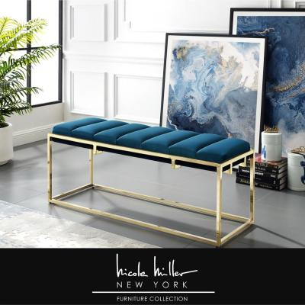 Judson Blue Velvet Bench with Channel Tufted Metal Frame