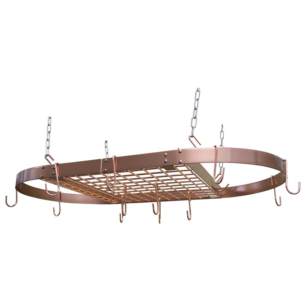 Details about Kitchen Copper Pot Rack Oval Ceiling Hanging Cookware Storage  Pan Holder Hanger