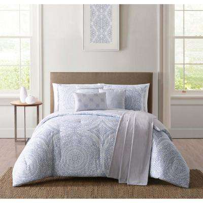 Solana White and Blue Queen Comforter Set