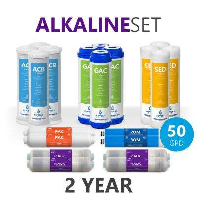 2-Year Alkaline Reverse Osmosis System Replacement Filter Set 20 Filters w/ 50 GPD RO Membrane 10 in. Water Filter