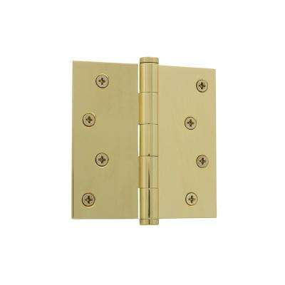 4 in. Button Tip Residential Hinge with Square Corners in Un-Lacquered Brass
