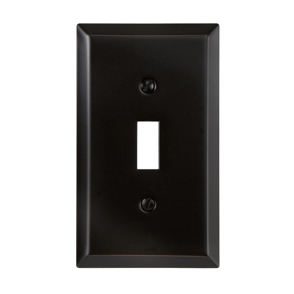 Amerelle Steel 1 Toggle Wall Plate - Aged Bronze-DISCONTINUED