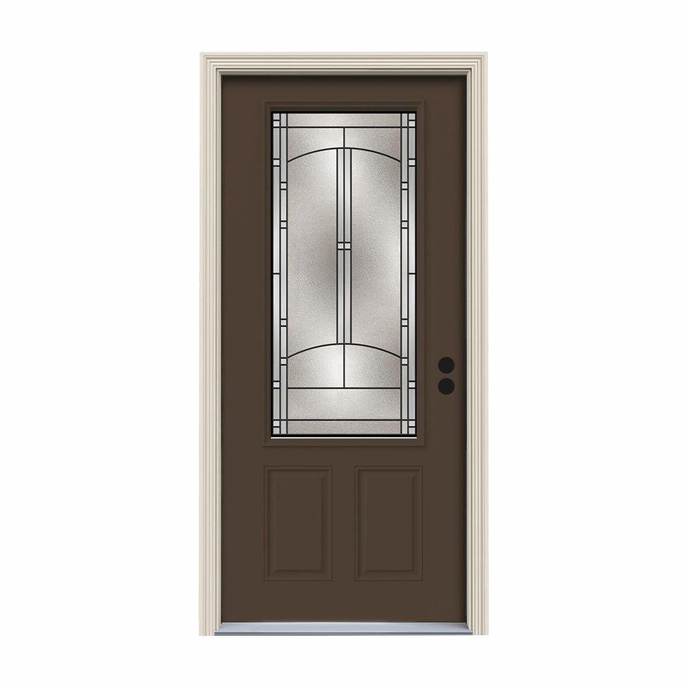 JELD-WEN 32 in. x 80 in. 3/4 Lite Idlewild Dark Chocolate Painted Steel Prehung Left-Hand Inswing Front Door w/Brickmould