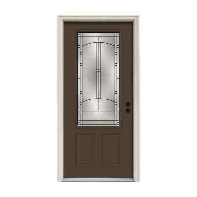 32 in. x 80 in. 3/4 Lite Idlewild Dark Chocolate Painted Steel Prehung Left-Hand Inswing Front Door w/Brickmould