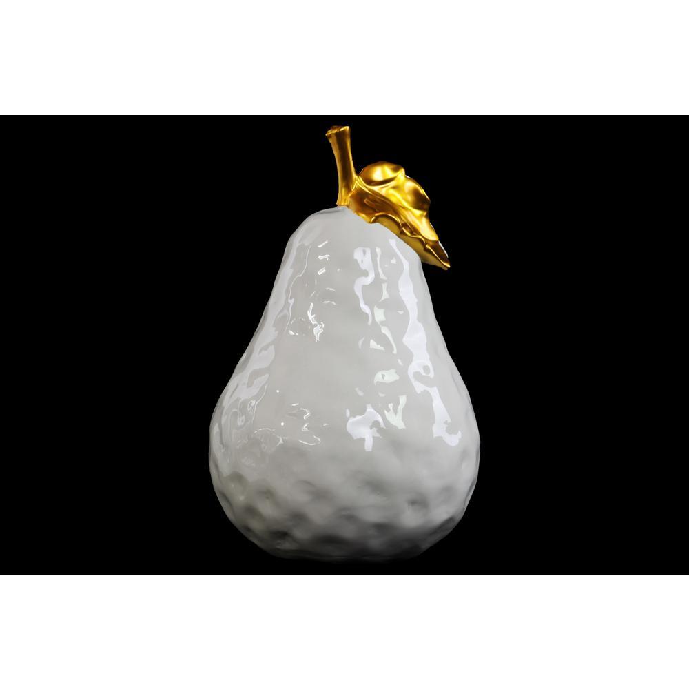 16.25 in. H Pear Decorative Figurine in White Gloss Leaf Finish