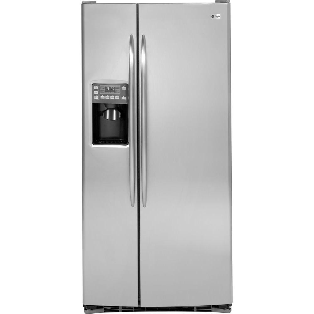 GE Profile 33 in. W 23.1 cu. ft. Side by Side Refrigerator in Stainless Steel