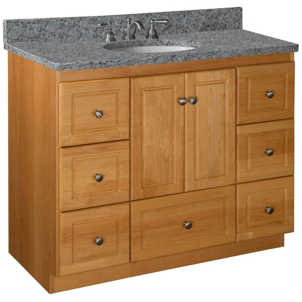 Ultraline 42 in. W x 21 in. D x 34.5 in. H Vanity Cabinet Only in Natural Alder