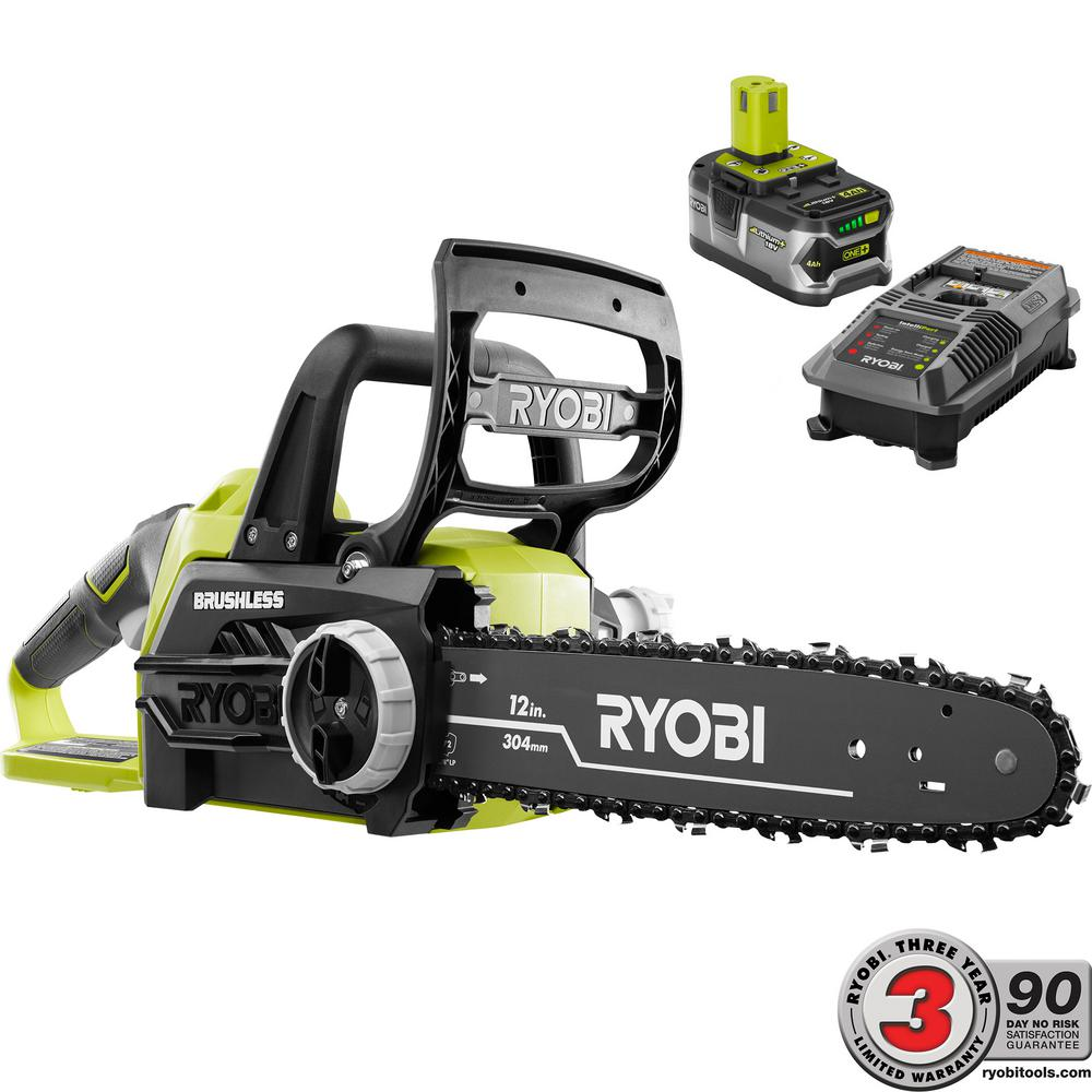 Ryobi One+ 12 in. 18-Volt Brushless Lithium-Ion Electric ...