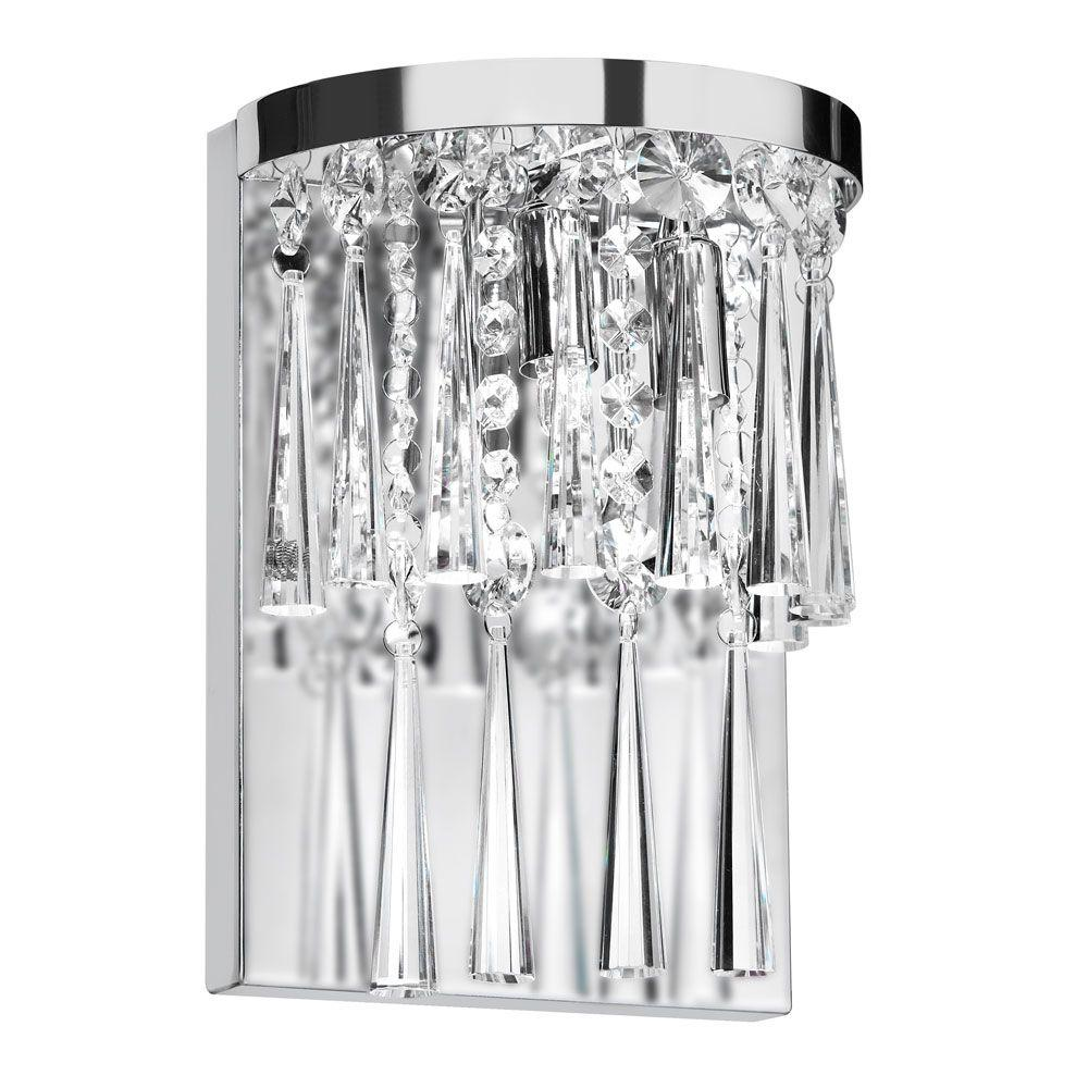 Radionic Hi Tech Josephine 2-Light Polished Chrome Crystal Wall Sconce
