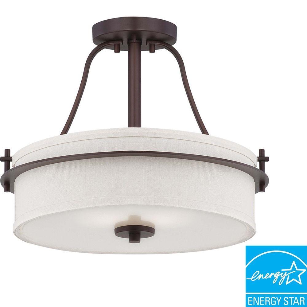 2-Light Venetian Bronze Semi-Flush Mount Light With White Linen Shade