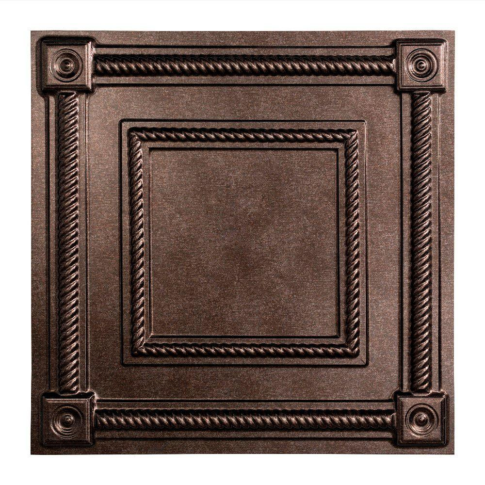 Fasade Coffer - 2 ft. x 2 ft. Lay-in Ceiling Tile in Smoked Pewter