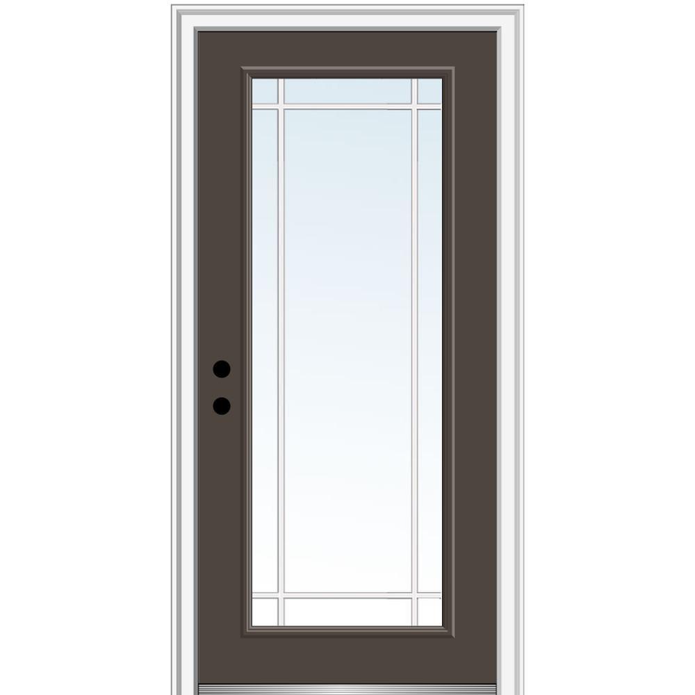 MMI Door 32 in. x 80 in. Prairie Internal Muntins Right-Hand Inswing Full Lite Clear Painted Steel Prehung Front Door
