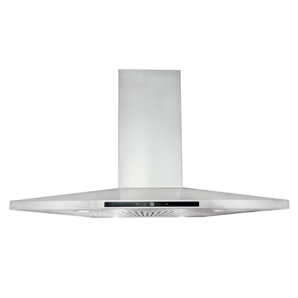 36 in. Ducted Island Range Mount Hood in Stainless Steel with