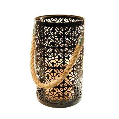 Lantern 6 in. x 9 in. Metal Lantern Jacquard Design with LED Candle
