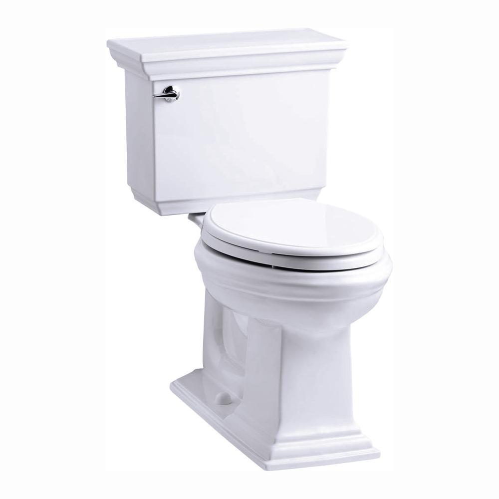 KOHLER Memoirs Stately 2-Piece 1.28 GPF Single Flush Elongated Toilet with AquaPiston Flush Technology in White