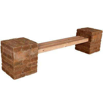 RumbleStone 100 in. x 24.5 in. x 21 in. Concrete Garden Bench Kit in Sierra Blend