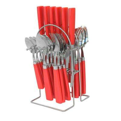 Quimby 25-Piece Red Flatware Set