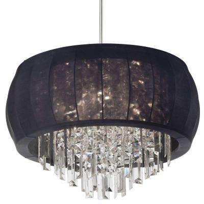Catherine 11 Light Halogen Polished Chrome Chandelier with Black Fabric Shades