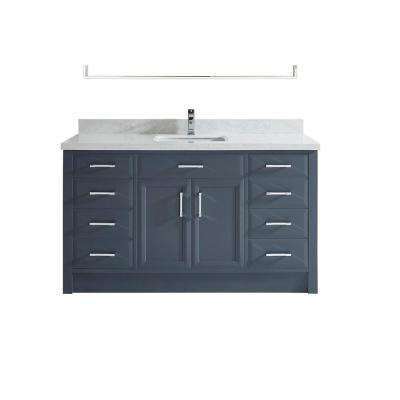 Calais 60 in. W x 22 in. D Vanity in Pepper Gray with Solid Surface Vanity Top