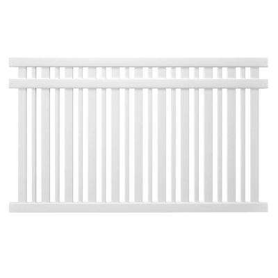 Pro-Series 5 ft. H x 8 ft. W White Vinyl Lafayette Spaced Picket Fence Panel