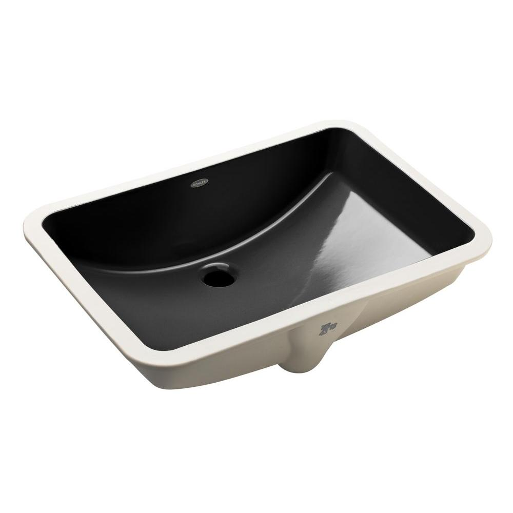 undermount bathroom sink with faucet holes kohler ladena 23 1 4 quot undermount bathroom sink in black 25816