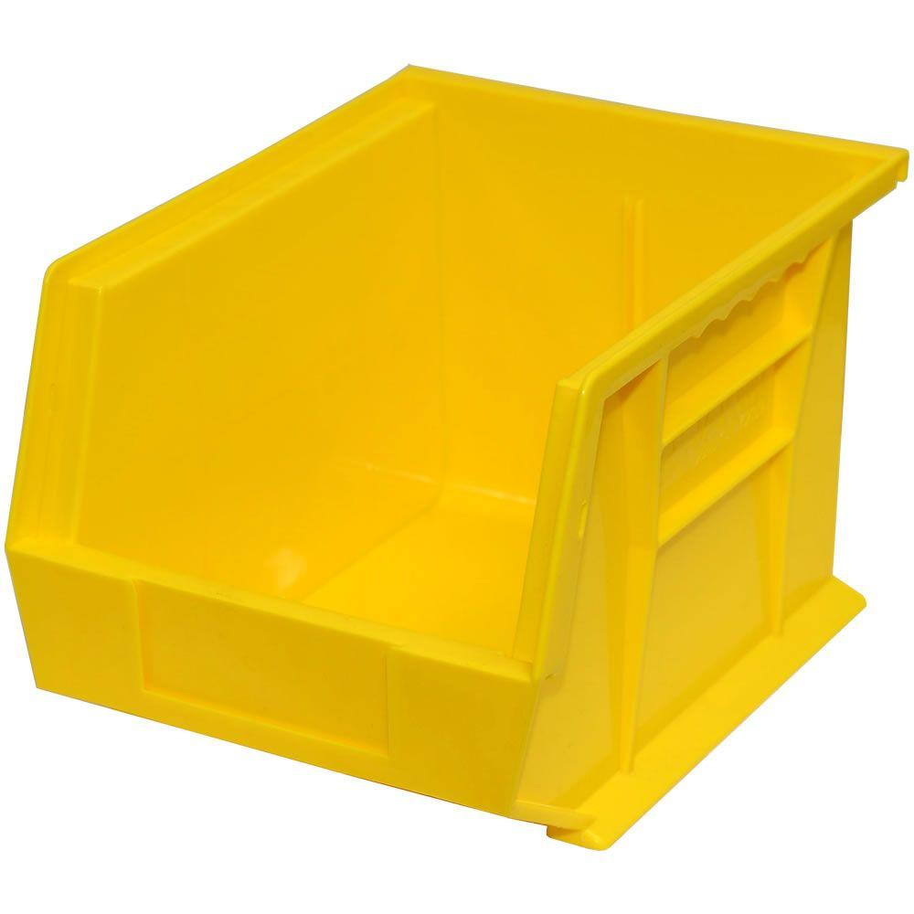Storage Concepts 11 in. W x 10-3/4 in. D x 5 in. H Stackable Plastic Storage Bin in Yellow (6-Pack)