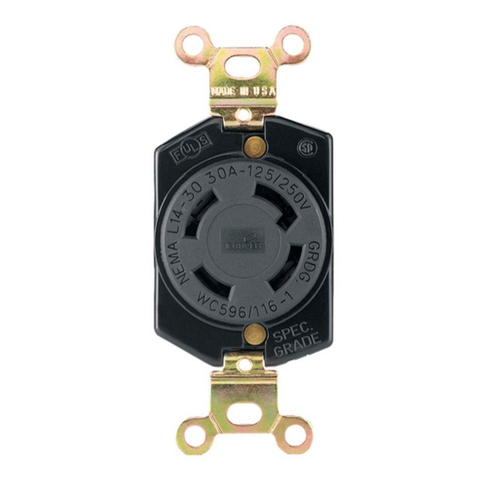 Eaton 30 Amp 125-250 Volt 4-Wire Twist Lock Receptacle - Black-DISCONTINUED