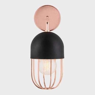 Aiden 1-Light Polished Copper Wall Sconce with Black Accents