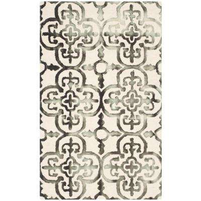 Dip Dye Ivory/Charcoal 3 ft. x 5 ft. Area Rug