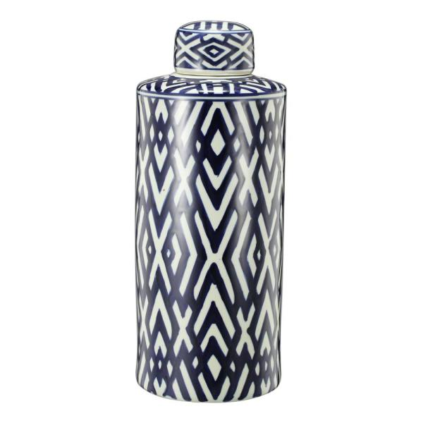 Carlyle Blue, White Large Lidded Jar