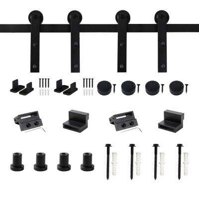 5 ft. Frosted Black Strap Sliding Barn Door Track Hardware Kit for Double Wood Doors with Non-Routed Floor Guide
