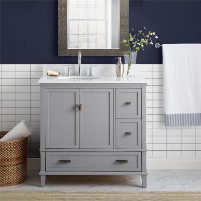 Irving 36 in. W Bath Vanity in Gray with Ocean Mist Engineered Stone Vanity Top with Pre-Installed Porcelain Basin