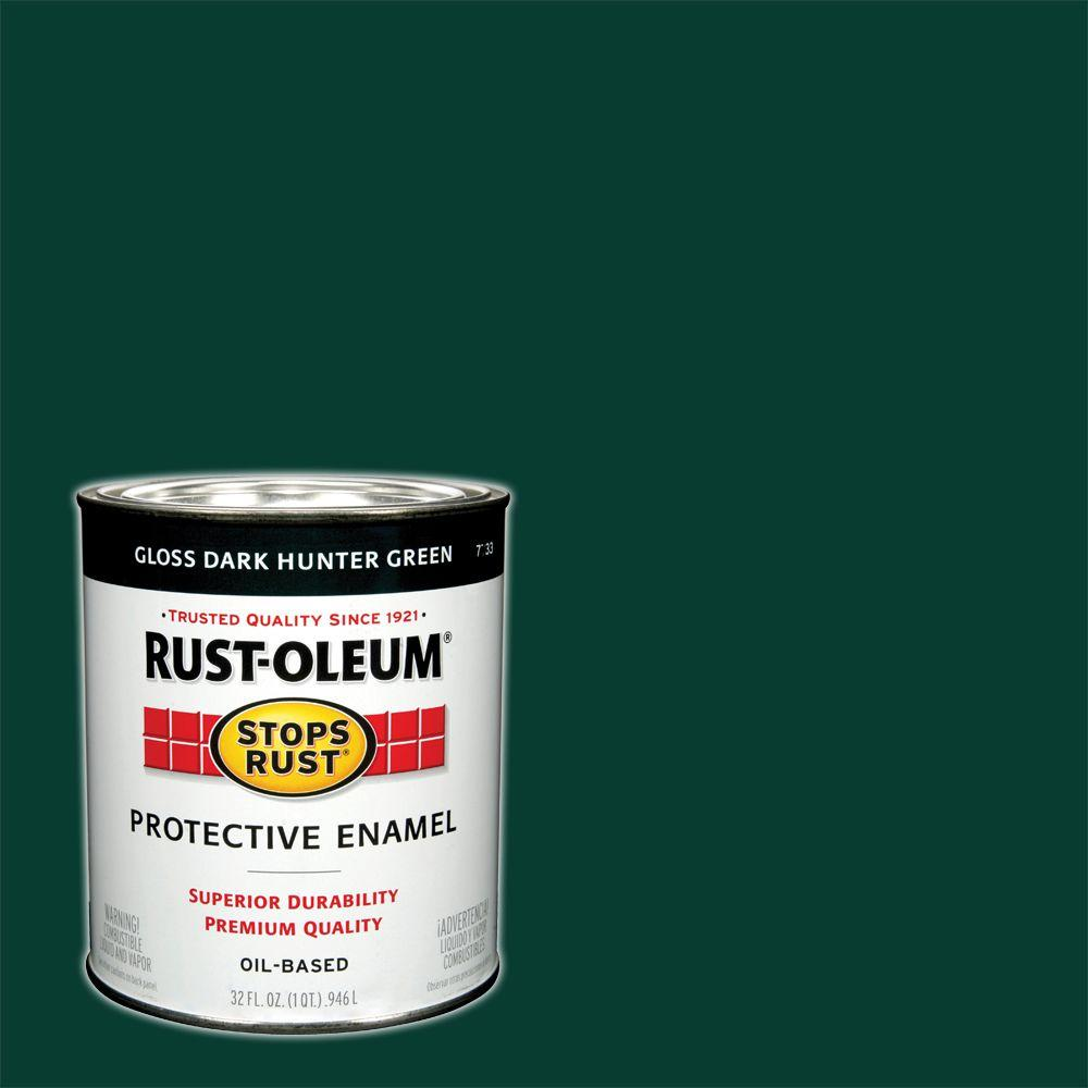 Rust-Oleum Stops Rust 1 qt. Gloss Dark Hunter Green Protective Enamel Paint (Case of 2)