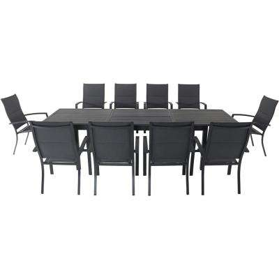 Dawson 11-Piece Aluminum Outdoor Dining Set with 10-Padded Sling Chairs and an Expandable 40 in. x 118 in. Table