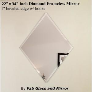 Fab Glass and Mirror 22 inch x 34 inch Diamond Frameless Decorative Mirror 1... by Fab Glass and Mirror